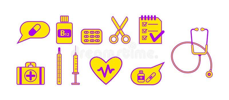 set för läkarundersökning för designsymbolsbild royaltyfri illustrationer