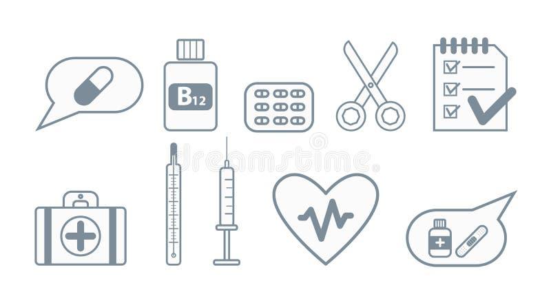 set för läkarundersökning för designsymbolsbild vektor illustrationer