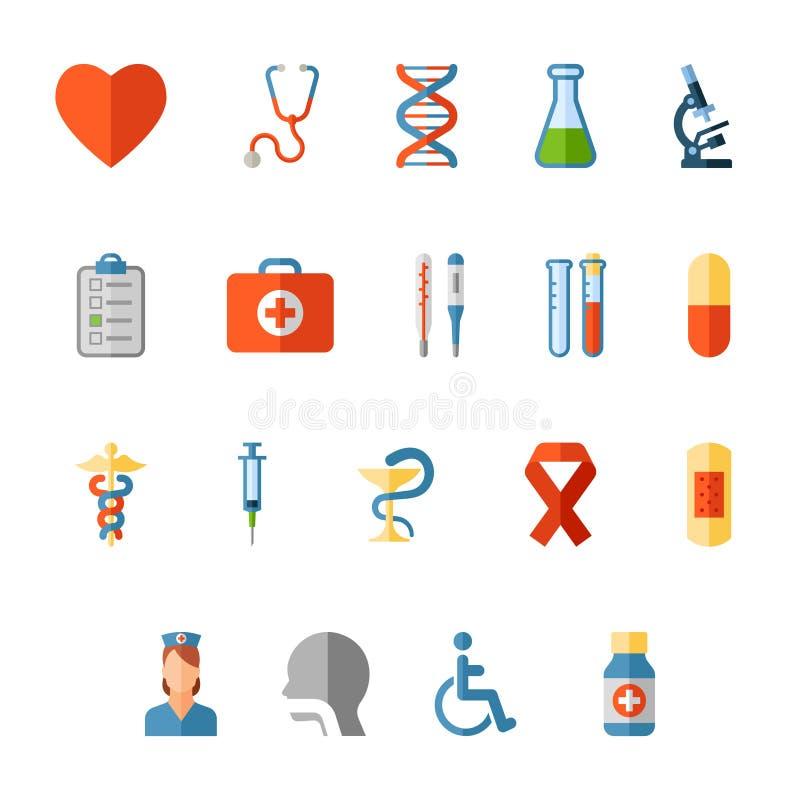 set för läkarundersökning för designsymbolsbild stock illustrationer