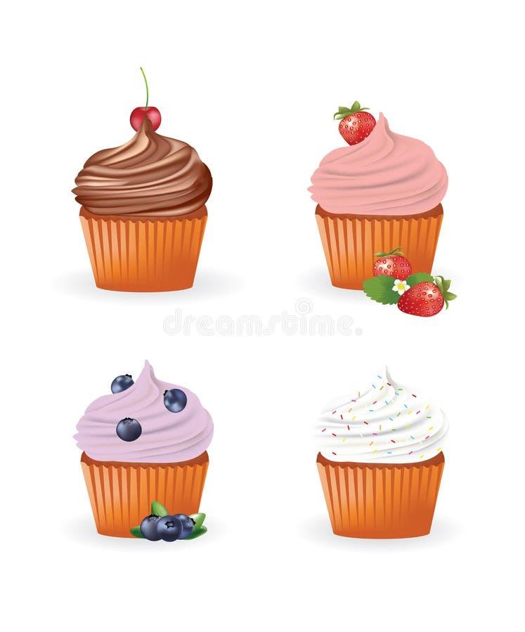 set för muffiner fyra royaltyfri illustrationer