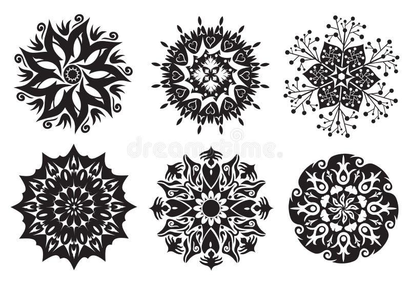 set för natur för 6 blommamandalas vektor illustrationer
