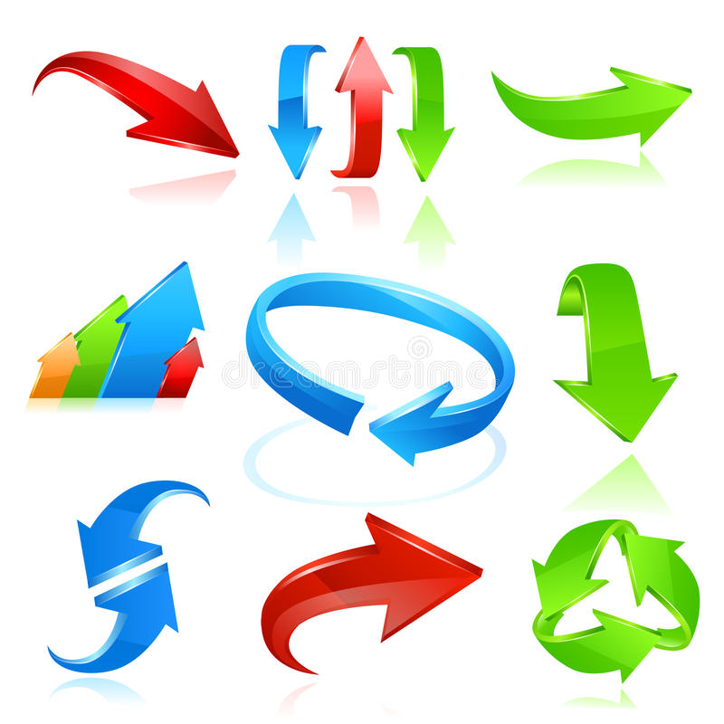 set för pilfärgsymbol royaltyfri illustrationer