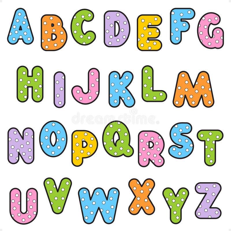set för polka för alfabetprickmodell royaltyfri illustrationer