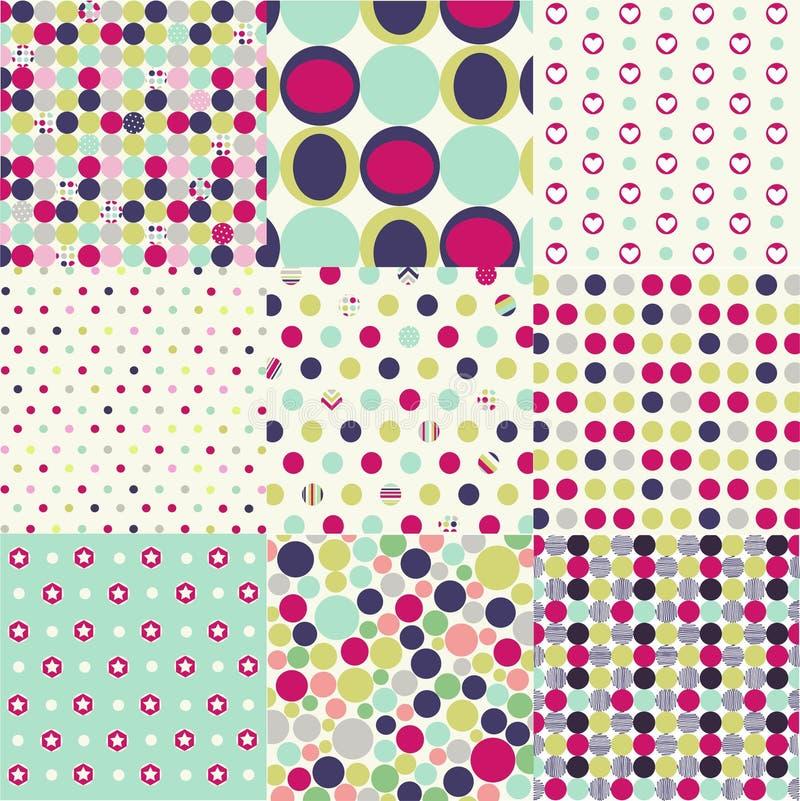 set för polka för prickmodeller seamless royaltyfri illustrationer