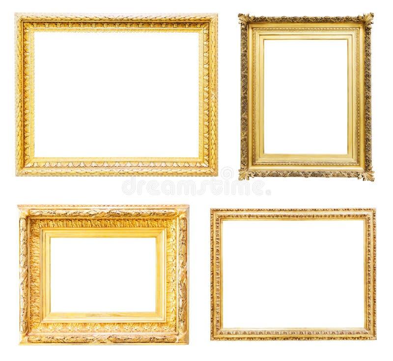 set för ramguldbild Isolerat över vit royaltyfria bilder