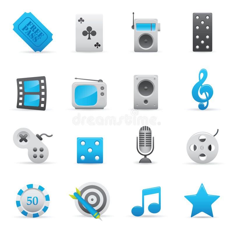 set för serie för 01 underhållningsymboler indigoblå royaltyfri illustrationer