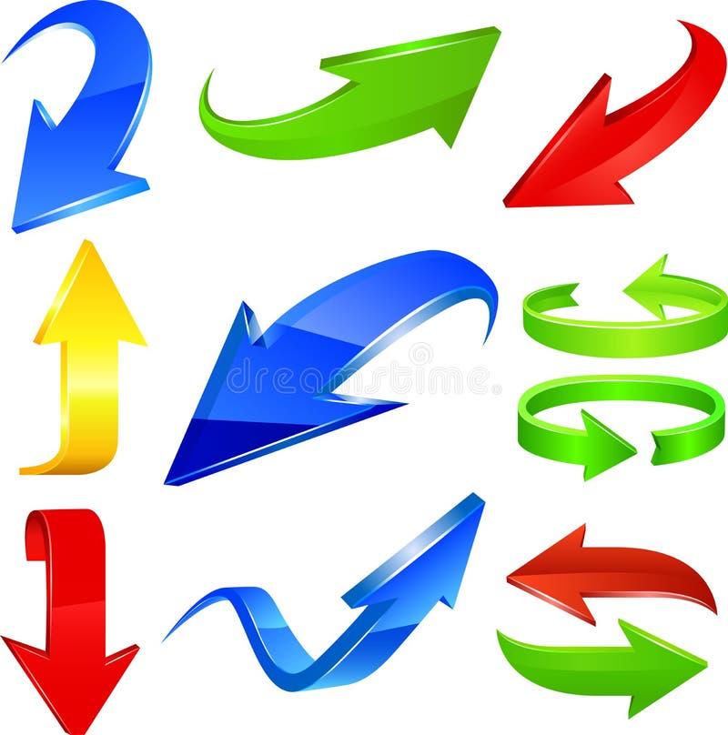 set för serie för grön symbol för pil röd vektor illustrationer