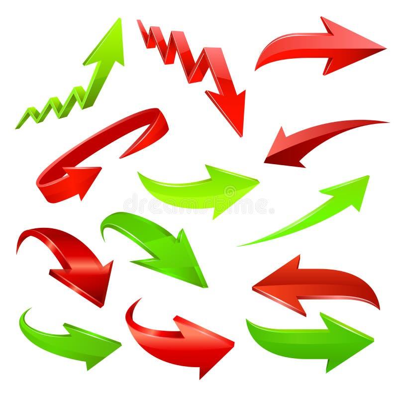 set för serie för grön symbol för pil röd vektor stock illustrationer