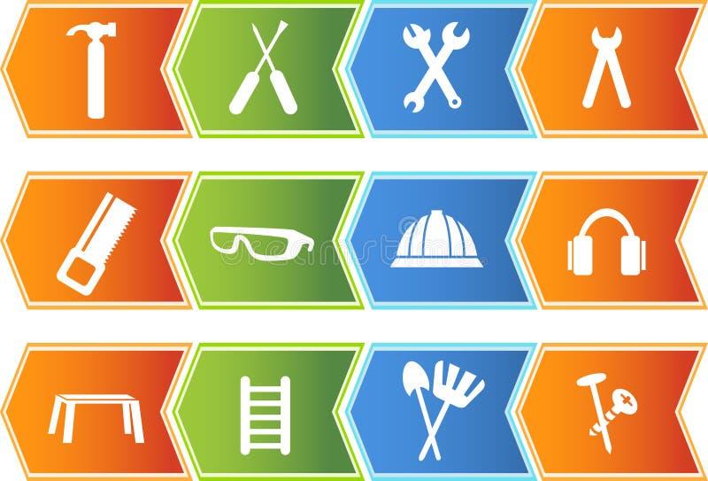 set för serie för symbol för pilknappmaskinvara royaltyfri illustrationer