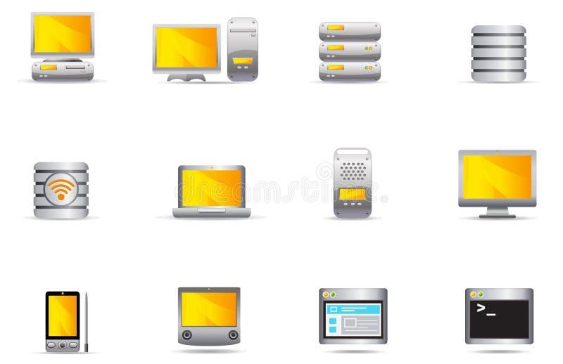 set för server för 16 datorsymbolsphilos royaltyfri illustrationer