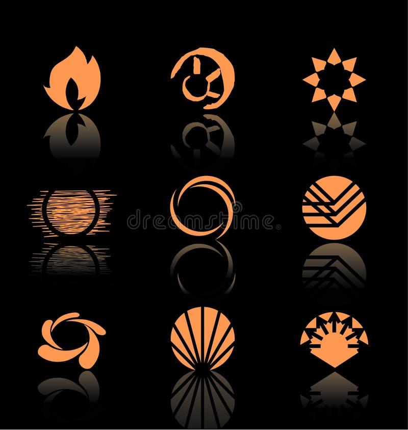 set för symbol för 3 designelement royaltyfri illustrationer