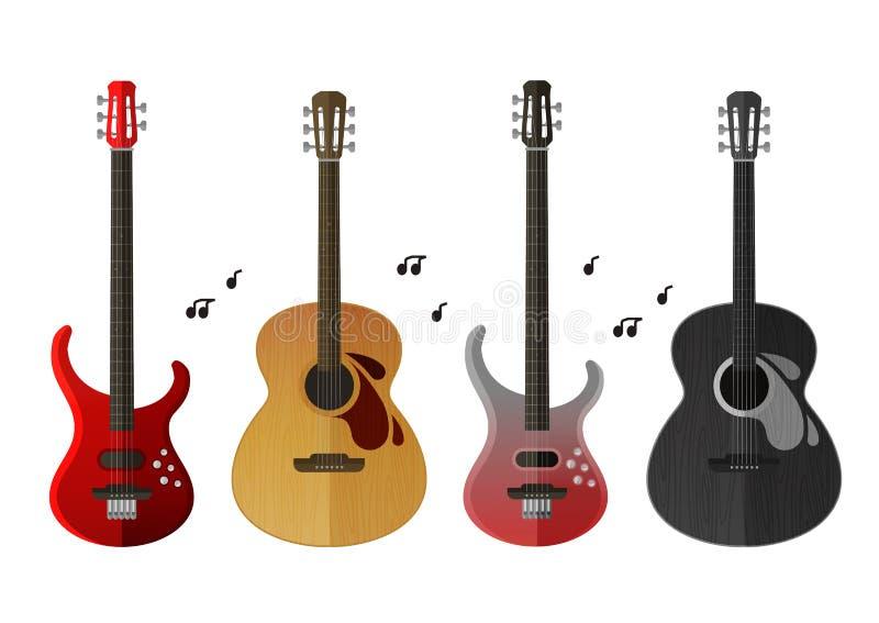 set för symbolsinstrumentmusikal elektrisk gitarr och klassisk gitarr som isoleras på vit bakgrund royaltyfri illustrationer