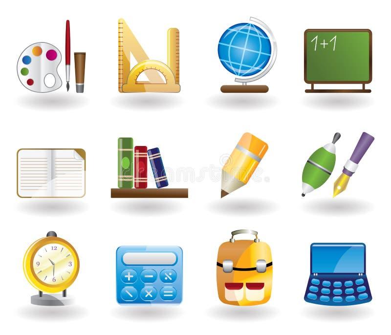 set för utbildningssymbolsskola stock illustrationer