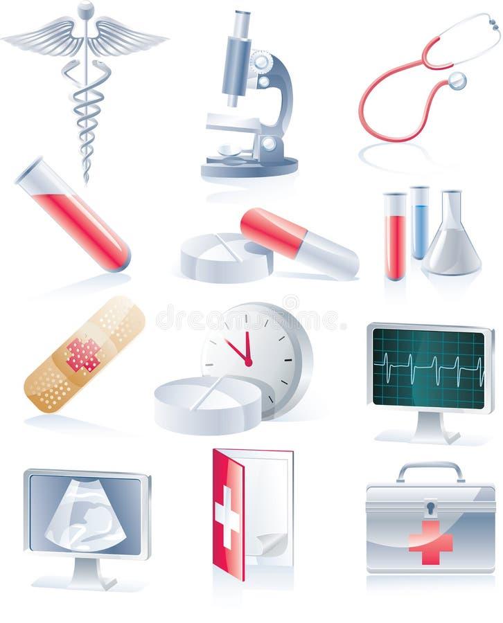 set för utrustningsymbolsläkarundersökning royaltyfri illustrationer