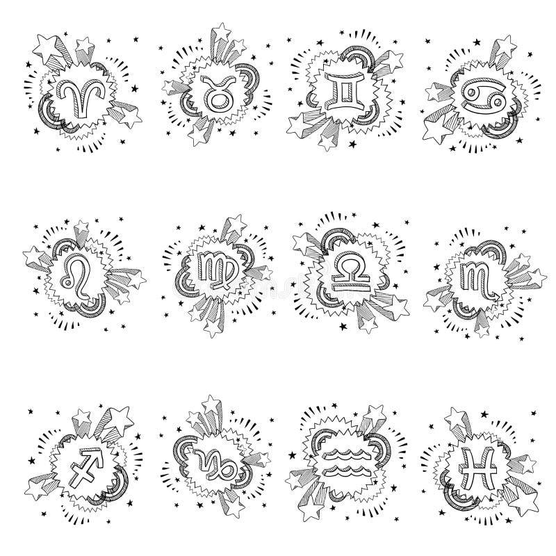 Set för Zodiacastrologisymbol stock illustrationer