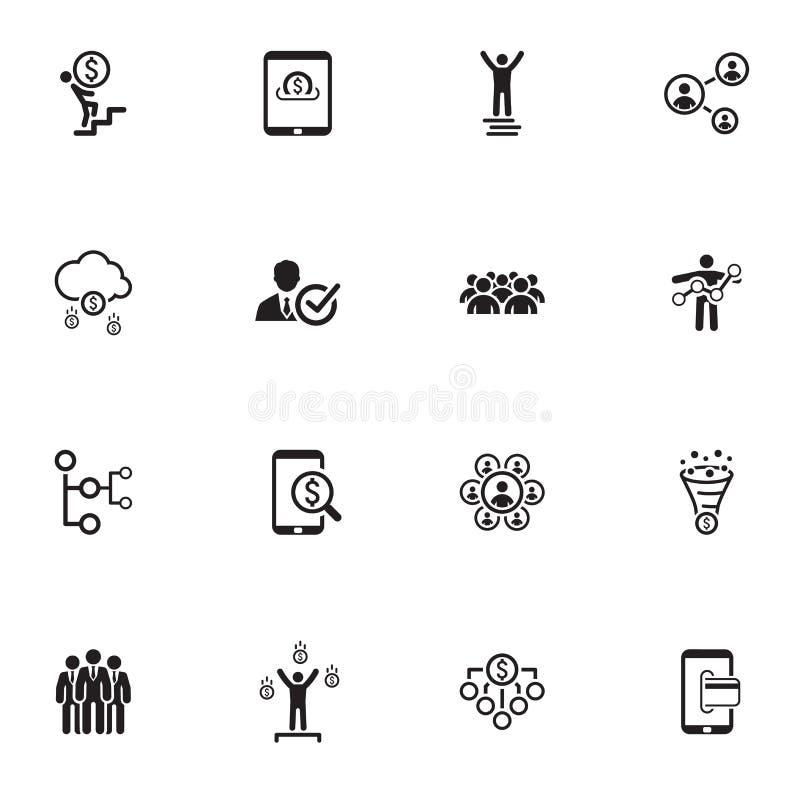 Set für flatternde Design Business Icons stock abbildung