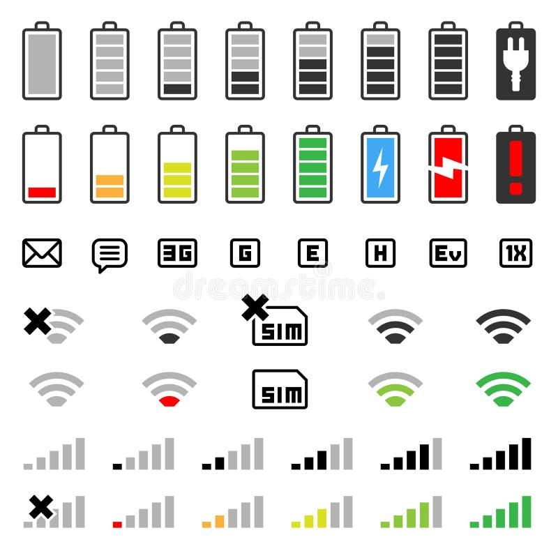 set för mobil för symbol för batterianslutning stock illustrationer