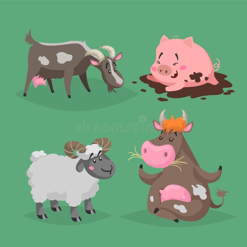 set f?r lantg?rd f?r djurtecknad film gullig Päls- RAM, kon som sitter i meditation, poserar, svinet som ligger i gyttjan, och sk stock illustrationer