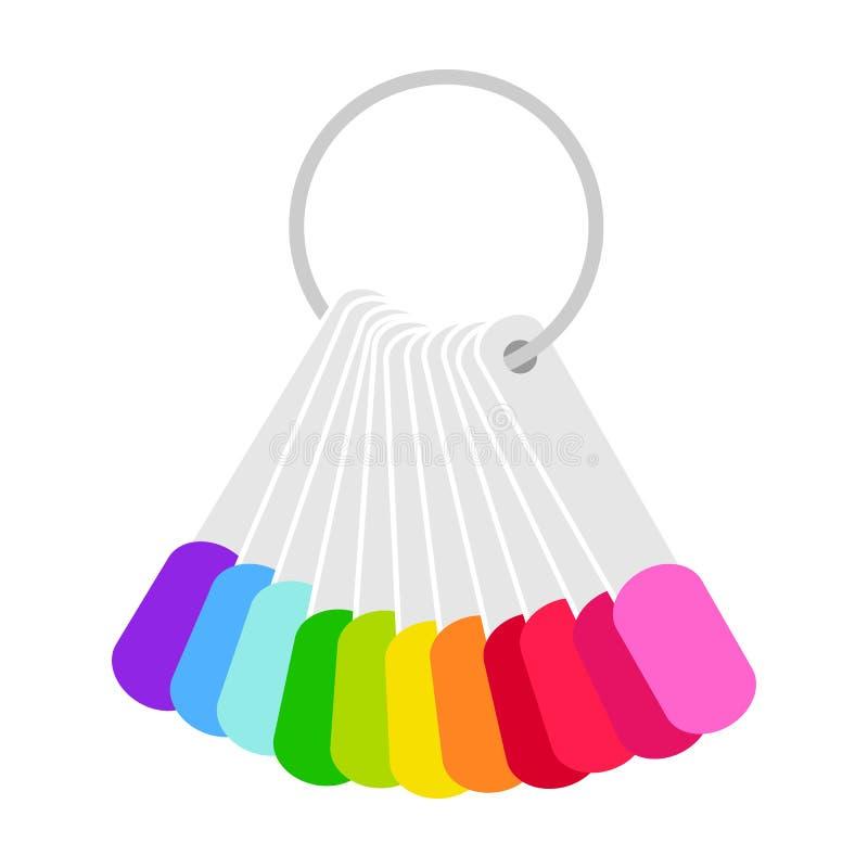 Set fałszywy gwoździa połysk dla manicure'u Barwi laquer paletę z sztucznymi gwoździami, kolorów swatches r?wnie? zwr?ci? corel i ilustracja wektor