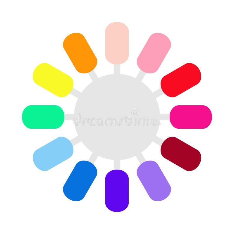 Set fałszywy gwoździa połysk dla manicure'u Owalna koloru laquer paleta z sztucznymi gwoździami, kolorów swatches r?wnie? zwr?ci? ilustracji