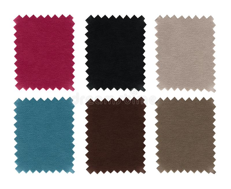 Set of fabric swatch samples texture. Closeup sample pieces color. Pink, blue, grey, brown,beige and black colors fabric texture i. Solated on white background royalty free stock images