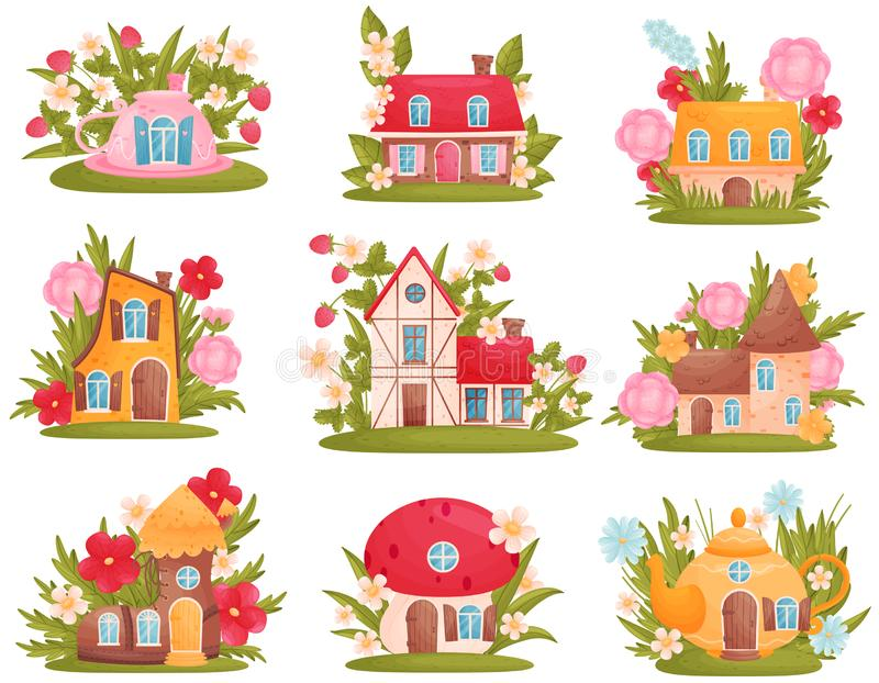 Set of fabulous houses of different shapes among the flowers and grass. Vector illustration on white background. royalty free illustration