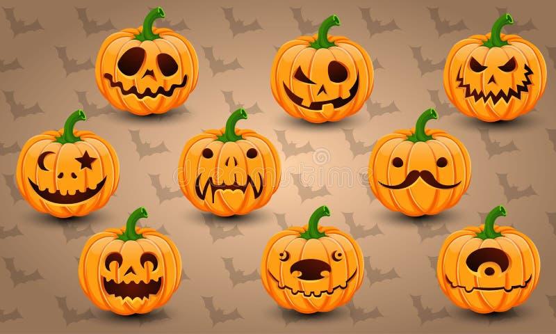 Set of face Halloween Pumpkins vector illustration