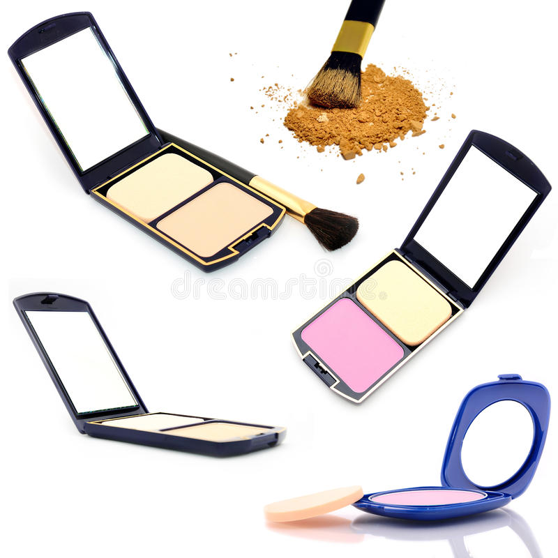 Set face powder. With mirror stock images
