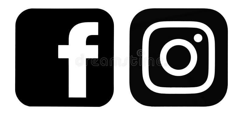 Set of Facebook and Instagram logos royalty free illustration