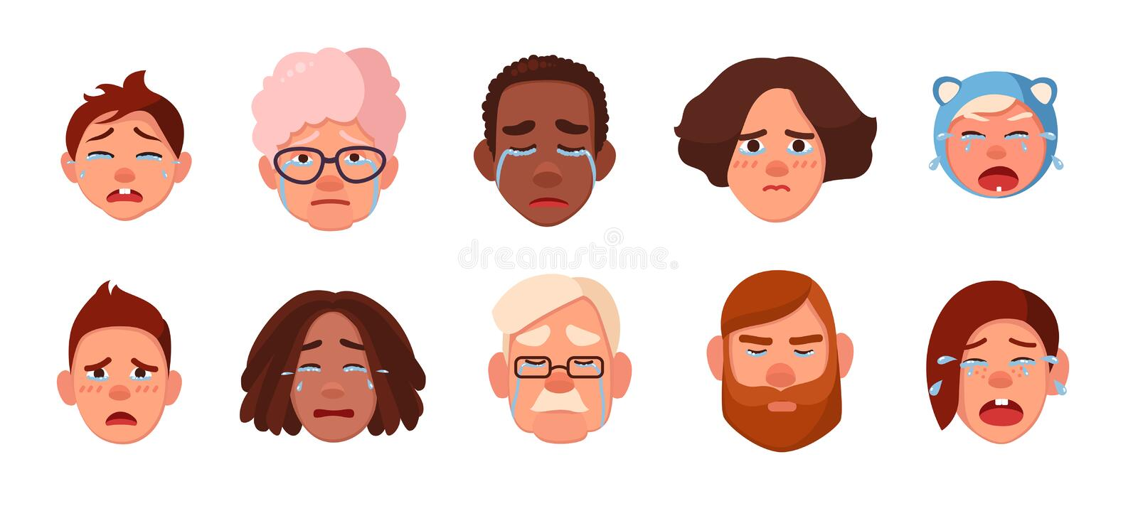 Set of faces crying person. Different sad people, children, young, adults, old collection. Colorful vector illustration stock illustration