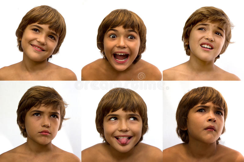 Set of faces with different emotions. royalty free stock photos