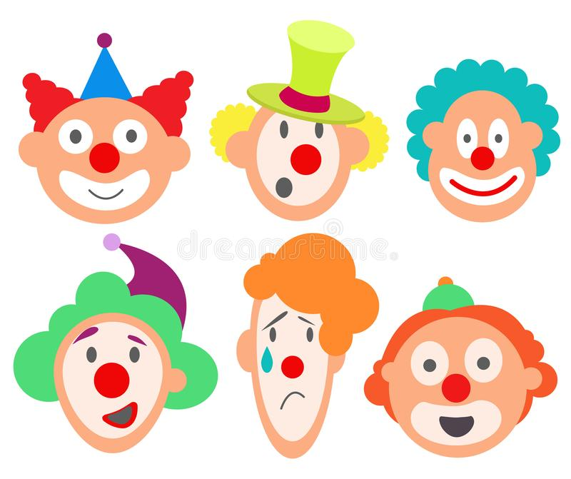 Set faces funny cute sweet royalty free illustration