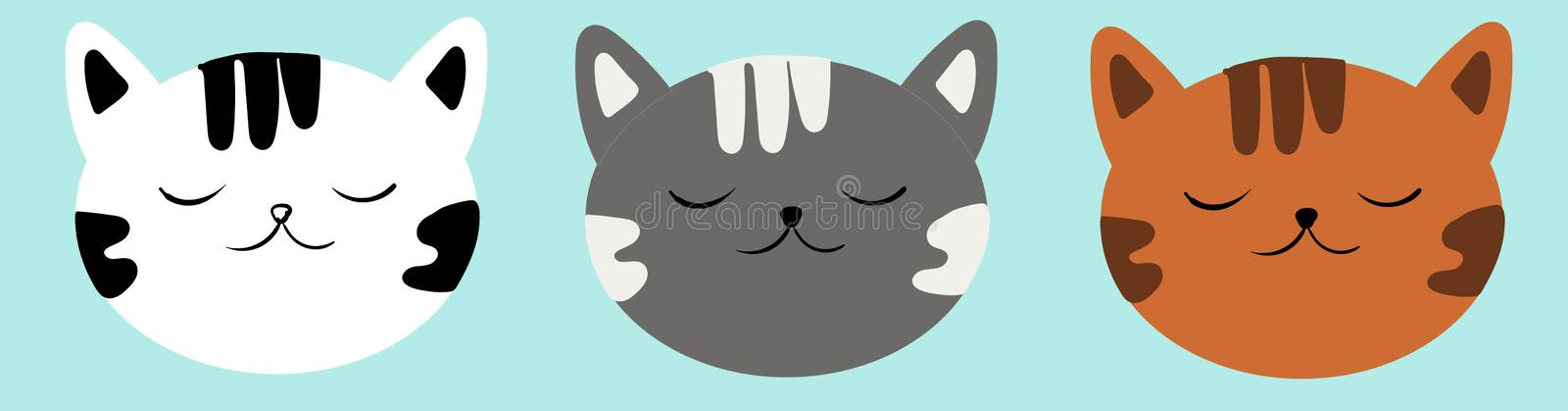 Set of faces seals. Cute illustration for your babies.  stock illustration