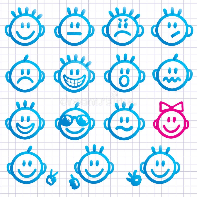 Set of faces with various emotion expressions. stock illustration