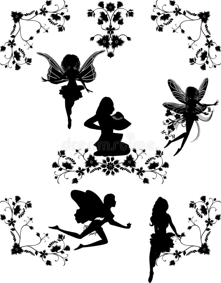 Set of fairies and floral corners vector illustration