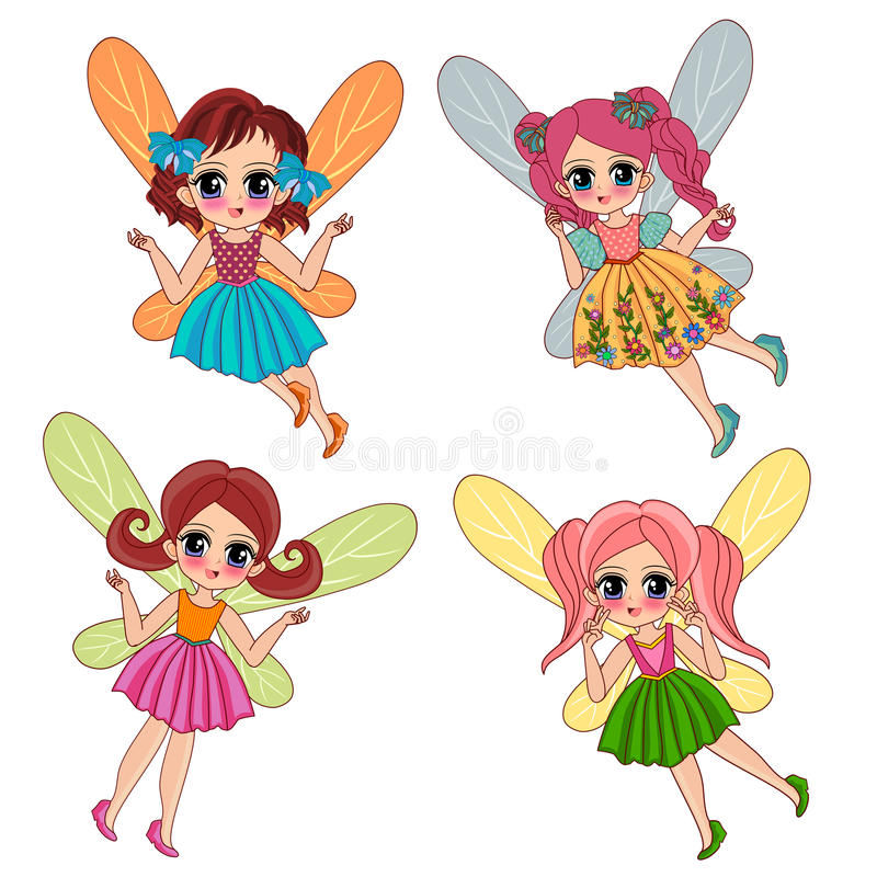 Set of fairy illustrations royalty free illustration