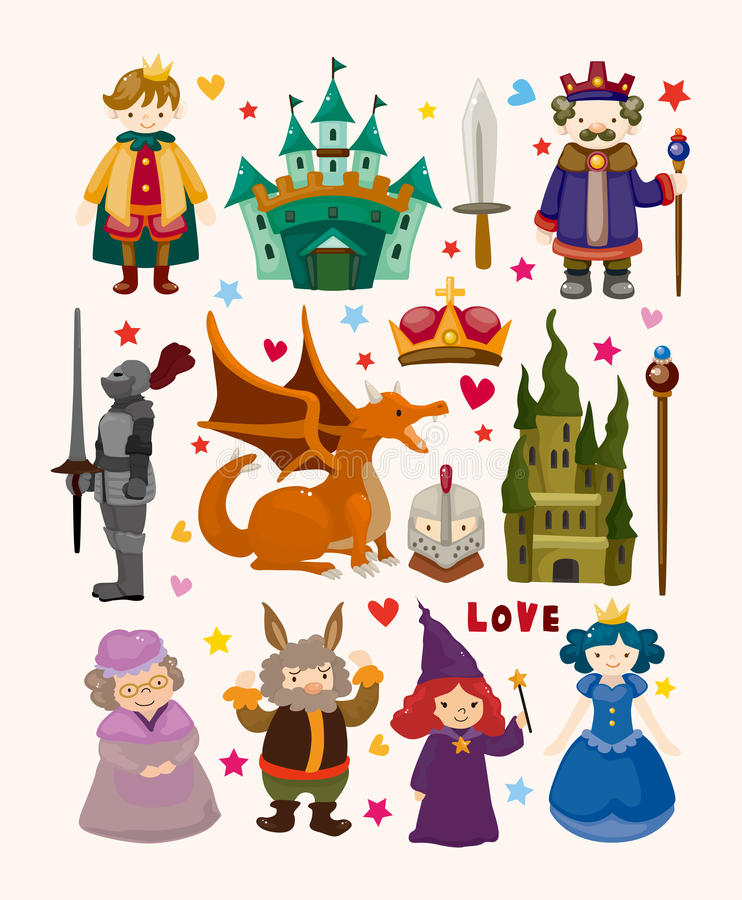 Download Set Of Fairy Tale Element Icons Stock Vector - Illustration of icon, knight: 30418603