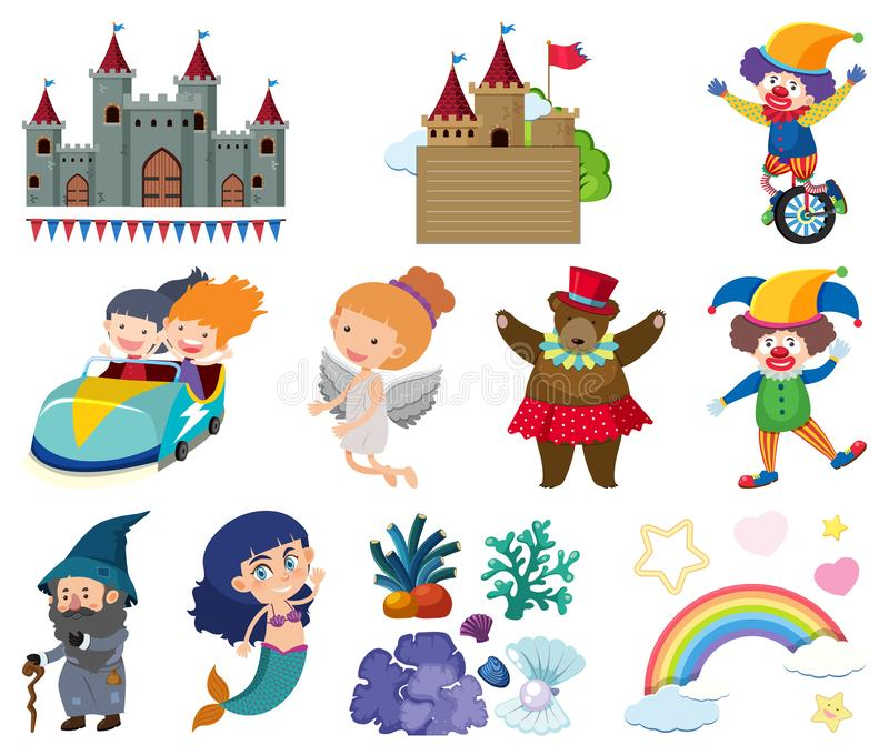 Set of fairytale characters on white background royalty free illustration