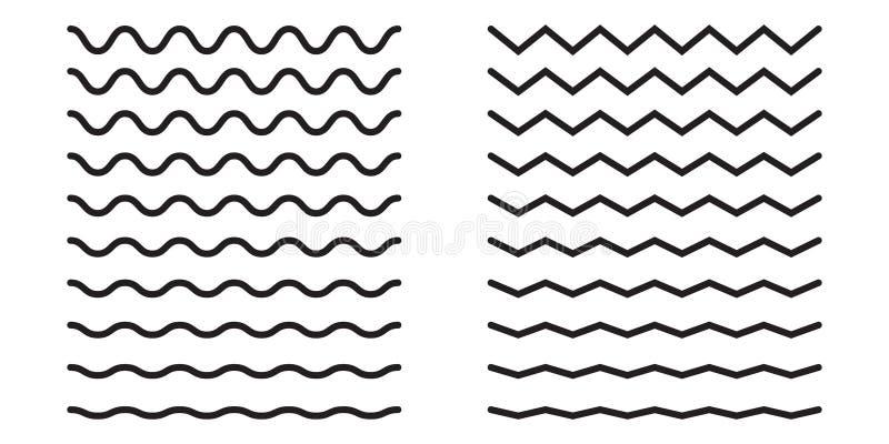 Set faliste horyzontalne linie spokojnie redaguje projekt elementów wektora ilustracji