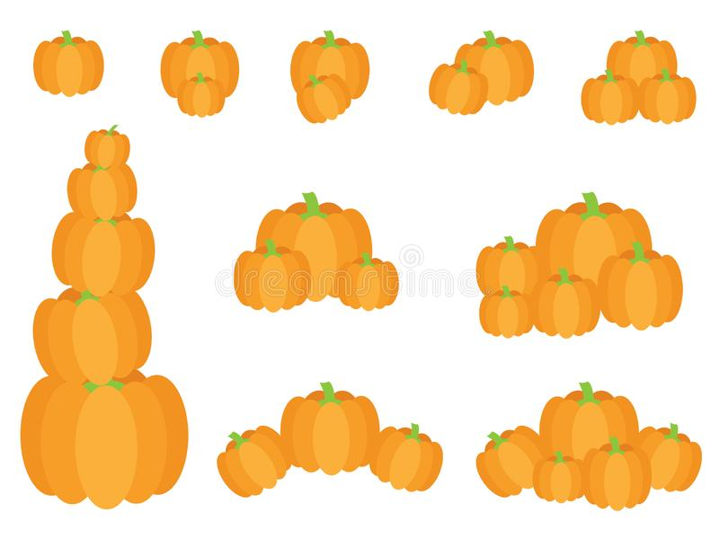 Vector Set of pumpkins in various groups. Set of fall pumpkins for thanksgiving on white background royalty free illustration