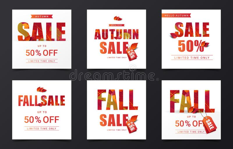 Set of Fall sale calligraphy decorate with falling leaves in modern style for shopping sale or promo poster and marketing leaflet. Or social media banner vector illustration