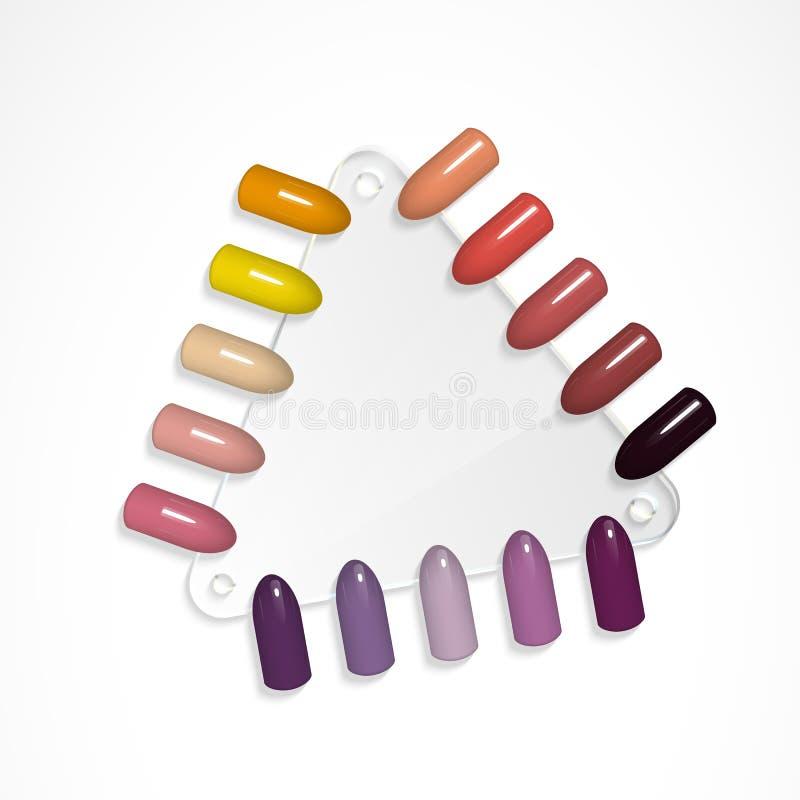 Set Of False Nails For Manicure. Tips. Varnish Color Palette For ...