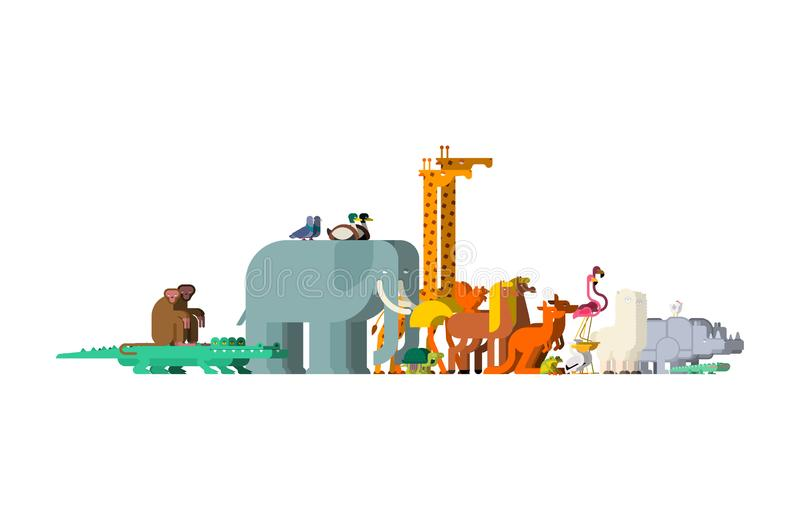 Set family animals. Pairs of beasts. Noah animal. Vector.  stock illustration