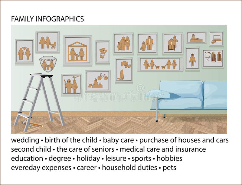 Set of Family Infographic Elements. Illustrations and Information Graphics stock illustration