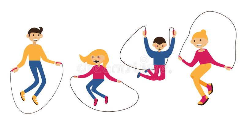 Set with family jumping with the jump rope, isolated on white. Flat characters with happy faces. Wellness illustration stock illustration