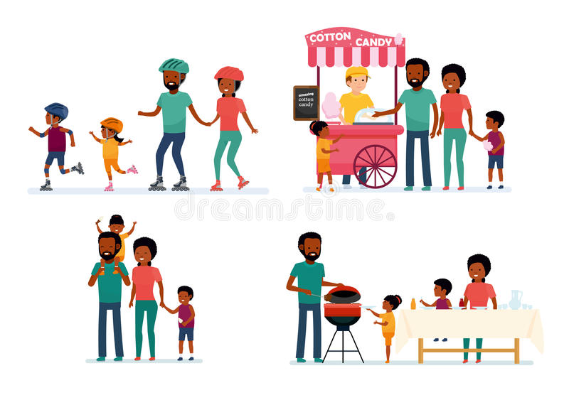 Set of family leisure. African family. Bbq at home, picnic in nature, walk in amusement park, roller skating. African American people. Vector illustration in a stock illustration