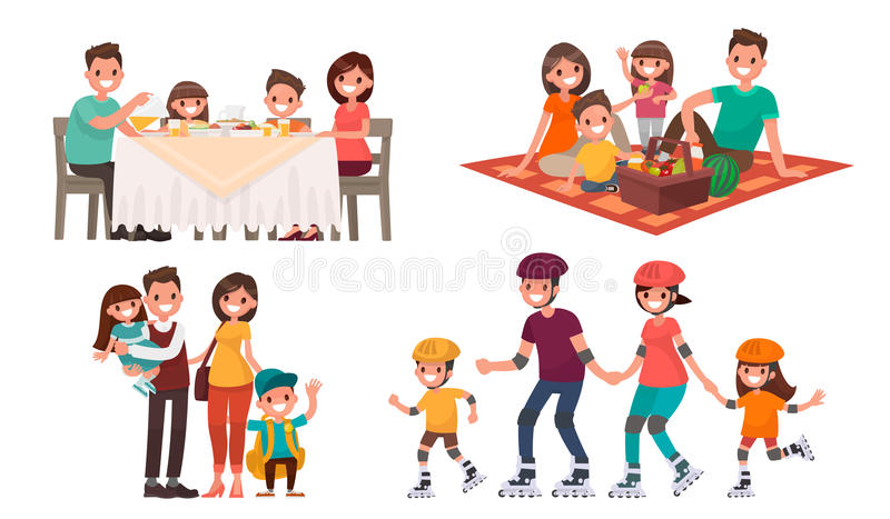 Set of family leisure. Lunch at home, picnic in nature, walk in vector illustration