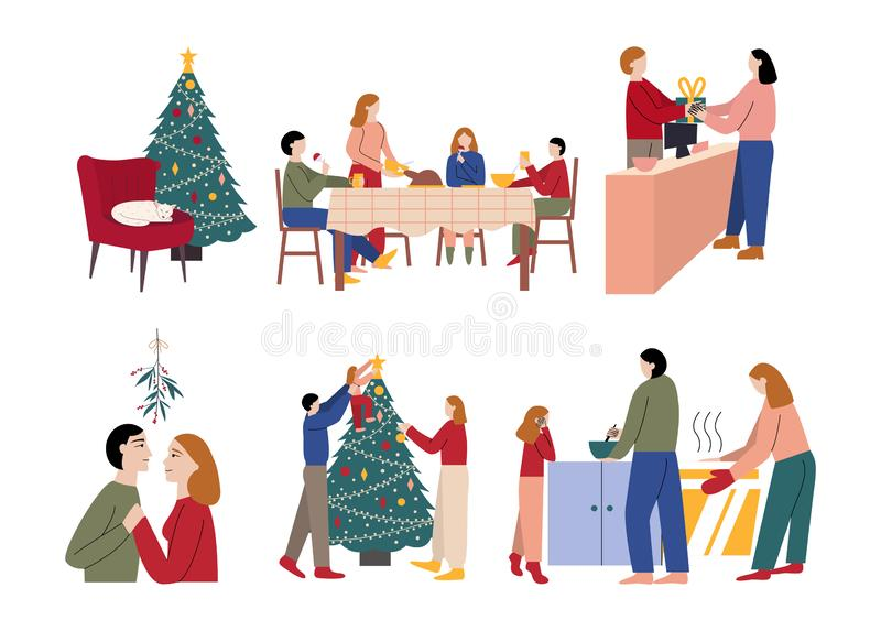 Set of family preparing and celebrating Christmas. Flat cartoon vector illustration vector illustration