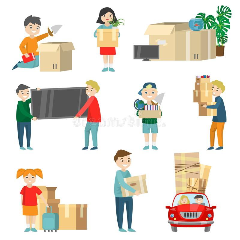 Set of family relocation items. Detail instruction stock illustration