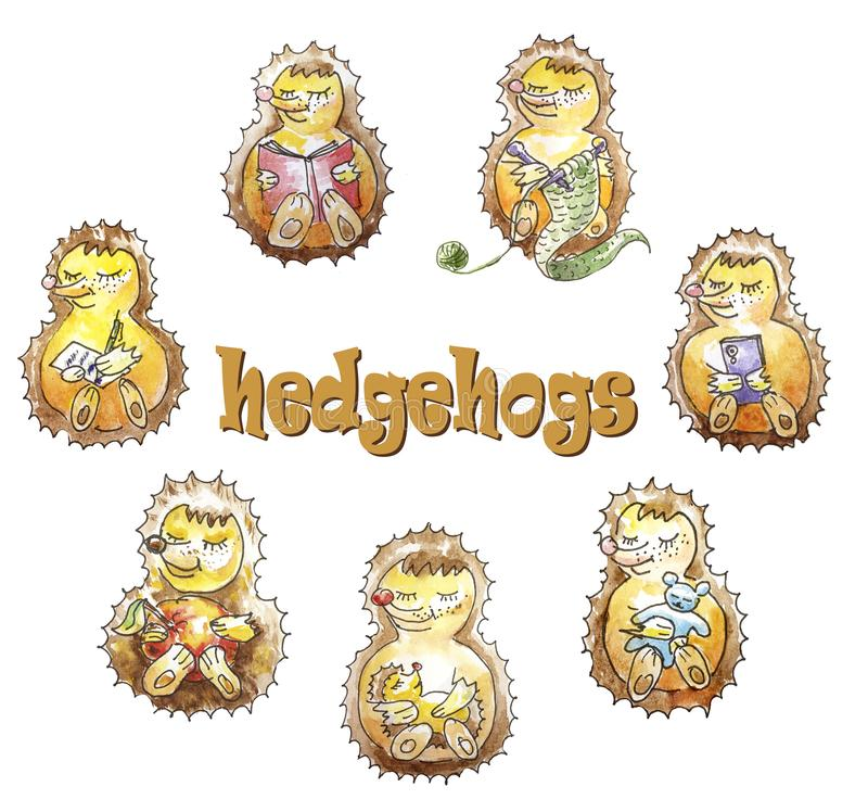 A set of a family of seven friendly hedgehogs who are having fun. Reading, knitting, eating, sleeping, playing, calling, writing royalty free illustration